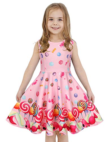 LaBeca Girls Lollipop Printed Birthday Party Play Sleeveless Pink Dress Lollipop M