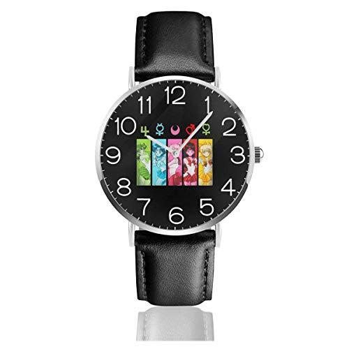 Watches Reloj de Pulsera Analógico Monoaguja de Cuarzo para Hombre Reloj para Hombre de Cuarzo Sailor Moon Group Symbols con Correa en Cuero