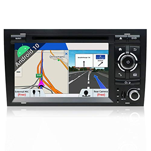 PX6 Android 10 Estéreo de coche de doble din compatible con AUDI A4 (2003-2011)【Bulit en DSP】 【4G + 64G】Cámara de respaldo Canbus gratuita de 7 pulgadas Soporte HDMI 4K Video DAB Volante Bluetoo