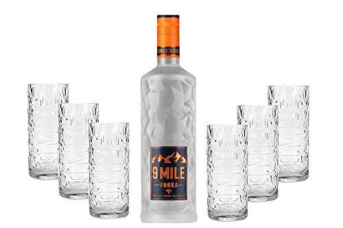 9 Mile Vodka Wodka 0,7l (37,5% Vol) + 6er Set 9 Mile Longdrinkglas/Longdrink Glas/Gläser Set - 6x Longdrinkgläser aus Glas - [Enthält Sulfite]