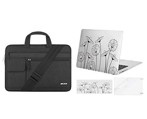 MOSISO Plastic Drawing Taraxacum Hard Case & Laptop Shoulder Bag Compatible with MacBook Air 13 (A1369 & A1466, Older Version 2010-2017 Release), Transparent & Black