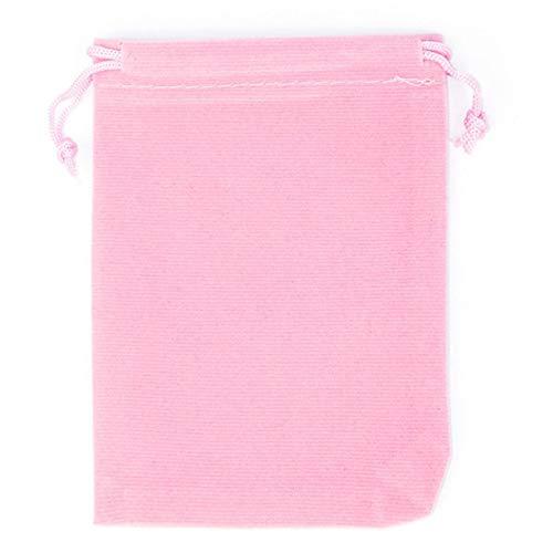 7cm x 9cm アクセサリーギフト用巾着 (カラー)01.ピンク ジュエリーポーチ 巾着袋 シンプル 収納袋 ベルベット ベロア調 プレゼント用 携帯用 小さい 小さめ ラッピング用 カラフル