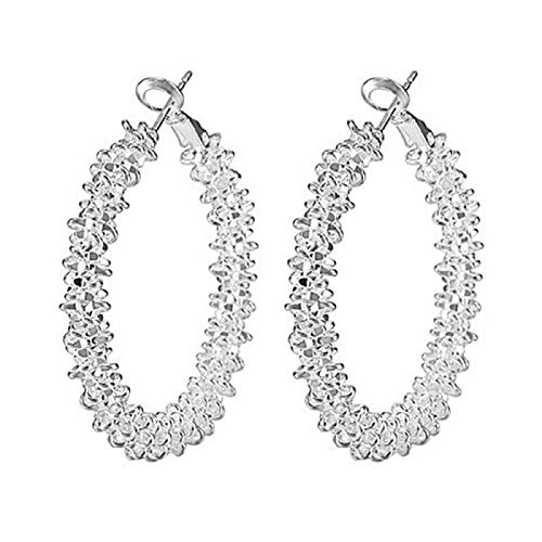 Ruby569y Pendientes colgantes para mujeres y niñas, 1 par de pendientes de aro ligeros de aleación de moda irregulares anudados redondos para mujeres - plata