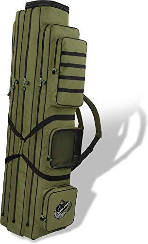 normani XXL Angel-Rutentasche Ruttenfutteral mit 3 Innenfächer - Längenverstellbar von 150 bis 190 cm Farbe Oliv