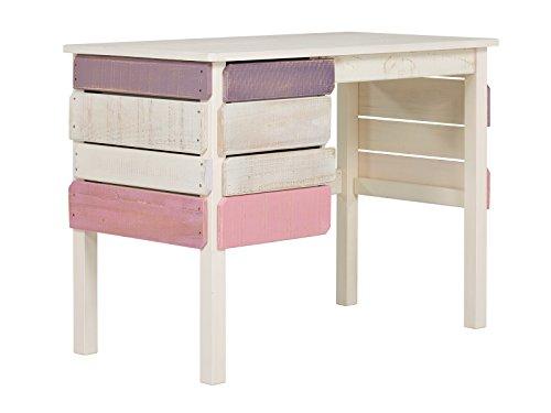Massivum 10024229 Safari Schreibtisch, Holz, rosa, 100 x 53 x 75 cm