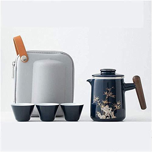 Juego de tetera de viaje de cerámica mini tetera china Kung Fu 1 olla 3 tazas taza de té de porcelana con bolsa de viaje portátil taza de té regalo portátil Kung Fu Tea Set-Type_a