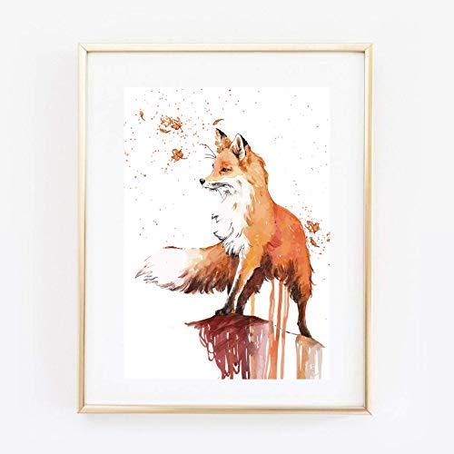 Din A4 Kunstdruck ungerahmt - Fuchs Aquarell modern orange Geschenk Druck Poster Bild
