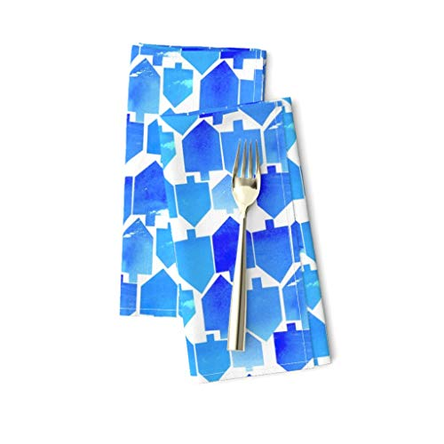 Roostery Cloth Dinner Napkins, Blue Dreidel Watercolor Holiday Hanukkah Chanukah Modern Tradition Cest La Kids Print, Linen-Cotton Canvas Dinner Napkins, 20in x 20in, Set of 2