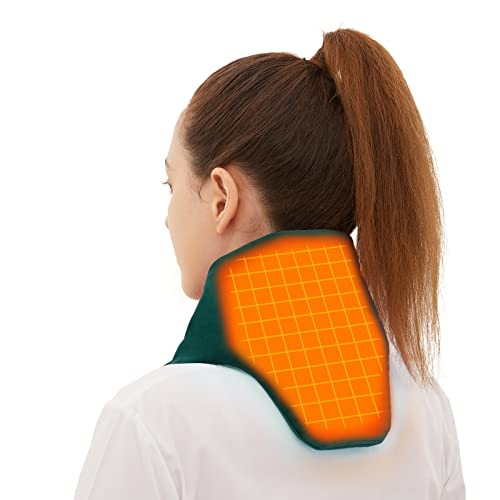 Heated Scarf with Neck Heating Pad, MELISSA Electric Neck Wrap for Cramps, Pain Relief or Stiffness Relief, Rechargeable Cordless Thermal Cervical Collar with 5000mAh Power Bank - Dark Green