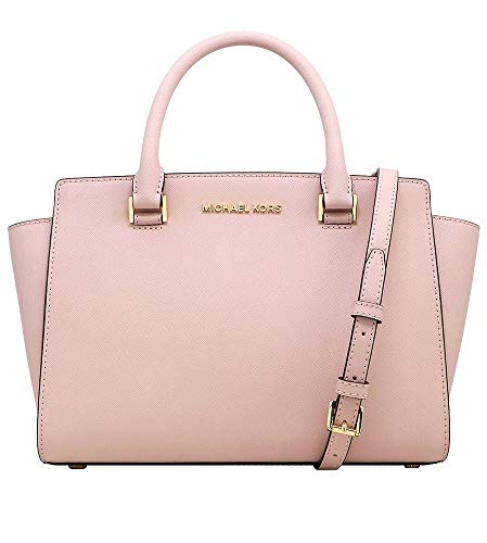 Michael Kors Selma Saffiano Leather Medium Top Zip Satchel Bag (Blossom)