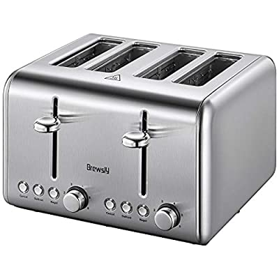 Brewsly 4-Slice Toaster, 1.6inch Extra-Wide Slot Dual Independent Control Toaster with Bagel, Defrost, Cancel Function, 6-Shade Setting&1500W 2-Minutes Quick Heating, 18/10 Stainless Steel