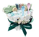 Elfenstall Windeltorte/Pamperstorte mit Schnullerkette/Schnuller und vielen Extras als tolles Geschenk zur Geburt oder Taufe auf Wunsch mit Namen des Babys (Krokodil)