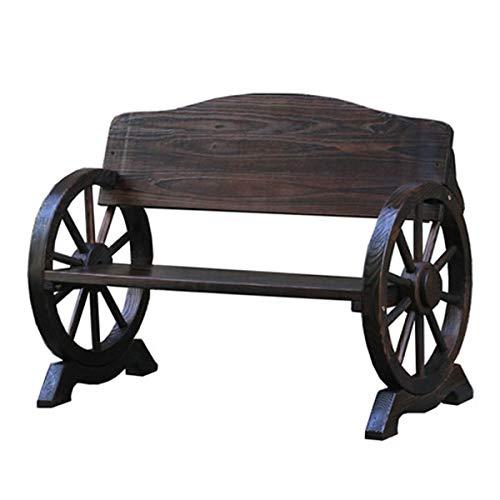 木製ベンチ ガーデン 屋外 車輪 ベンチ アンティーク 庭 テラス ダークブラウン 2人掛け