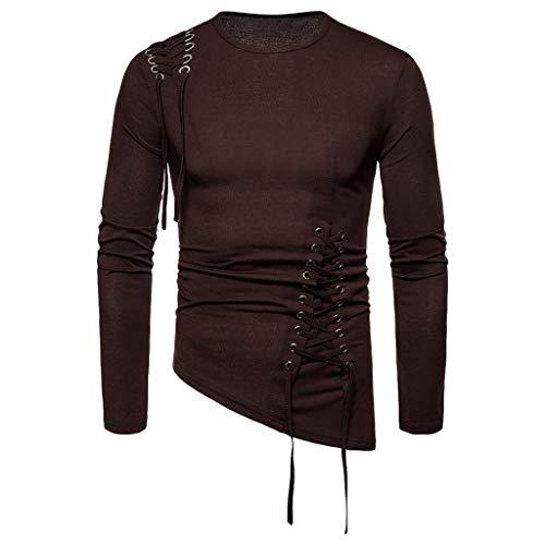 Xmiral Sweatshirt Pullover Herren Einfarbig Unregelmäßig Schnürung Tops Hemd Lange Ärmel Rundhals Tops Sportbekleidung(Kaffee,XXL)