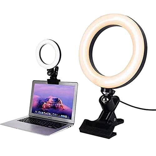 JDKC- Anillo de Luz LED RGBW Clip 6', Iluminación de Videoconferencia, para Computadora Portátil 3 Colores Regulables y 10 Niveles de Brillo, para Maquillaje, Youtube, TIK Tok, Vlogs, 2PCS