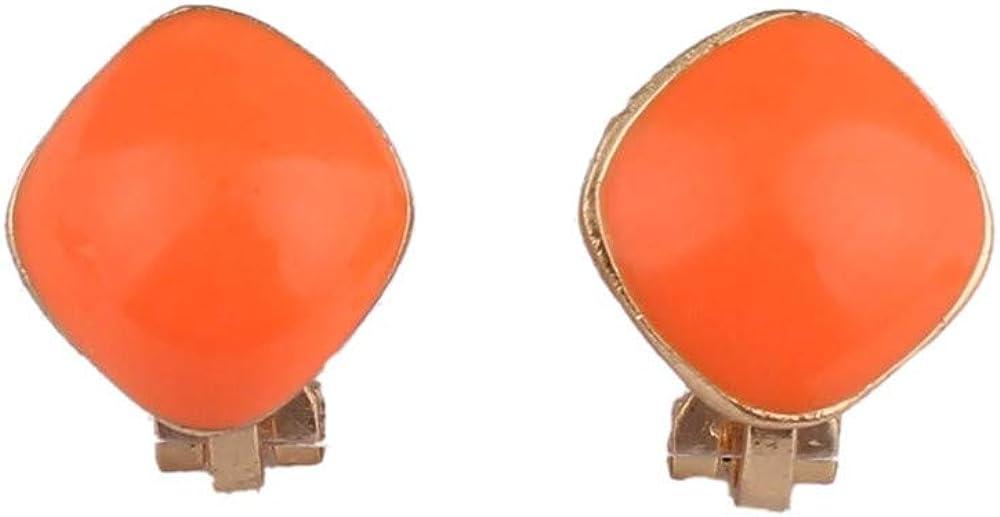 HAPPYAN Cute Candy Color Enamel Geometric Shape Clip on Earrings Non Pierced for Women Ear Clip