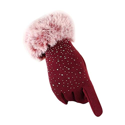 Damen Allfingerhandschuhe Verdicken Winter Warme Handschuhe Weibliche Handschuhe Hände Warme Guantes Mujer-Red-b1