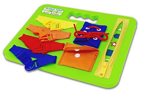 Buckle Toys Busy Board - Learning Activity Toy - Develop Motor Skills and Problem Solving - Learn to Tie Shoes - Easy Travel Toy