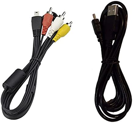 Excelshoots Mini USB Cable for Canon PowerShot SX50 HS + AV Cable (Black)