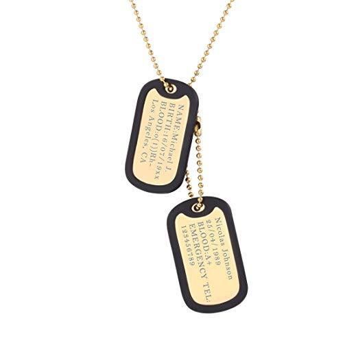 U7 Collar Personalizado Placa de Militar Hombre Acero Inoxidable, Collar Médico Colgante Collar Dog Tag de Identificación con Cadena Fina de Bolas 60cm