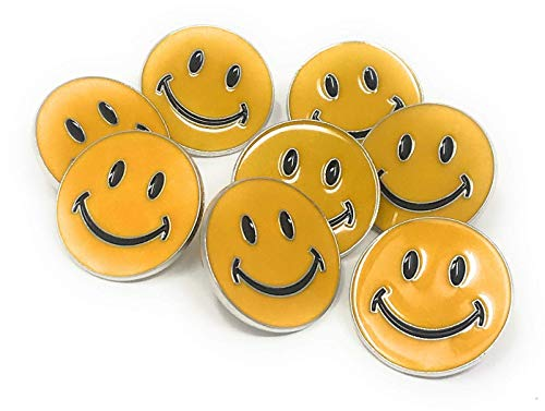 Funiverse Bulk Deluxe 50 Pack of Smile Face Lapel Pins - Enamel on Zinc Alloy with Rubber Backing