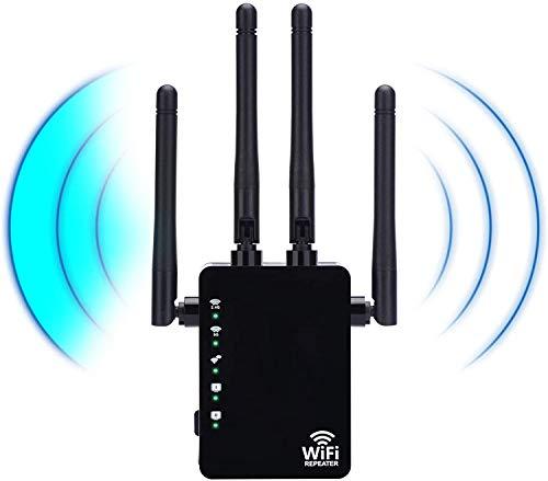 Tokenhigh Repetidores WiFi, 1200Mbps Amplificador Señal de WiFi Extensor de Red Doble Banda 2.4GHz & 5G WiFi Range Extender,Repetidor WiFi Largo Alcance con Ap/Repeater/Router Modos