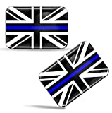 Biomar Labs® 2 x Aufkleber 3D Gel Silikon Stickers Grossbritannien England UK Thin Blue Line Flag Dünne Blaue Linie Polizei Flagge Fahne Auto Motorrad Fahrrad Fenster Tür PC Handy Tablet...