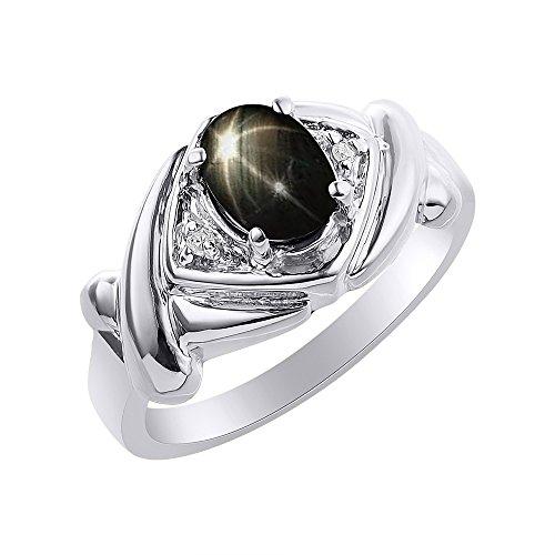 Juego de anillos de zafiro de estrella negra y diamante en oro blanco de 14 quilates – XO Hugs & Kisses – Anillo de piedra de nacimiento de color
