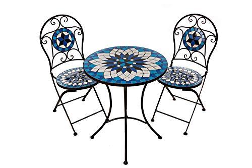 Hochwertiges aufwendig gearbeitetes Mosaik Tisch Set, 002a+B stabiles Gartenmöbel Set, Balkonset, Bistroset, Schweres beschichtetes Metall, Wetterfest, Tisch und 2 Stühle (Blau-Weiß 002A+B)