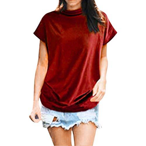 Camiseta de mujer de verano, manga corta, elegante, informal, holgada, holgada, de gran tamaño, informal, cuello alto, básica, chef, sudadera, sudadera, camiseta, túnica, Rojo sandía, M