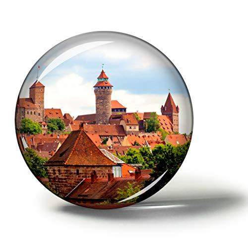 Hqiyaols Souvenir Deutschland Kaiserburg Nürnberg Magnete Kühlschrankmagnete Andenken Sammlerstücke Reise Geschenk Kreis Kristall 1.9 inches