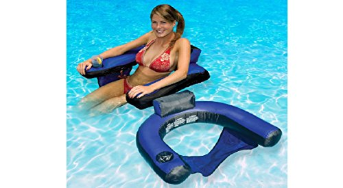 Swimming Pool U-Seat Chair Float Inflatable Nylon Fabric Covered, Portable