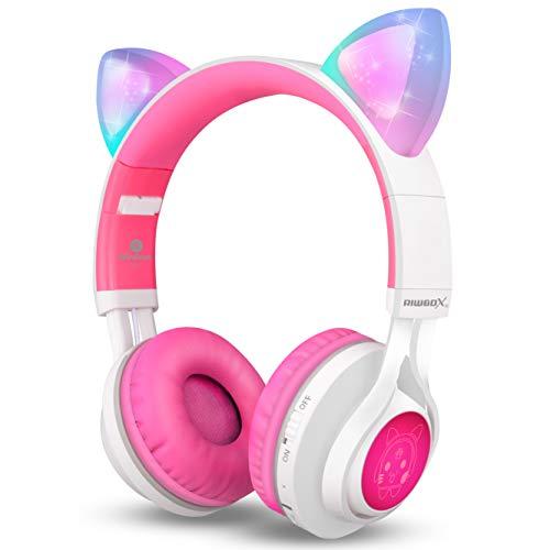 Riwbox CT-7 - Auriculares Bluetooth con orejas de gato, luz LED, inalámbricos, con micrófono y control de volumen, para iPhone/iPad/smartphone/portátil/PC/TV Blanco y rosa