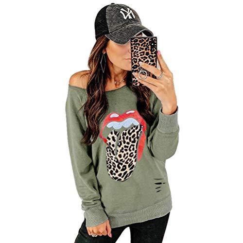 Yemocile Dames Red Lips Leopard Tongue Gepard Dierdruk Trendy Grafisch halsband zonder bandjes gat sweatshirt pullover tuniek tops blouse