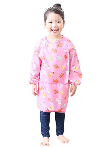 Plie Waterproof Kids Art Smocks 37 Colors (Age 1-10, S-XXL Size), Pink Animal (04-L)