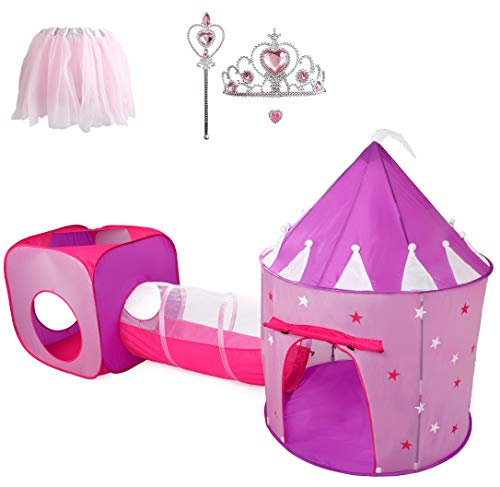 Hide N Side Princess Tent With Tunnel, Kids Castle Playhouse & Princess...