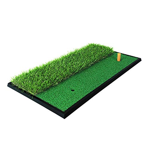 PGM Golf Turf Practice Mat for Driving Hitting Chipping Artificial Grass Dual Turf Golf Hitting Mat for Backyard Home Use Indoor Outdoor Rubber Tee Holder Included