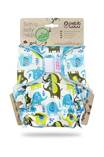 Petit Lulu One Size Höschenwindel (4-15 kg) Klett | Fluffy Organic | Bambus natürliche wiederverwendbare Stoffwindeln | Ohne Polyester (Kleine Elefanten)