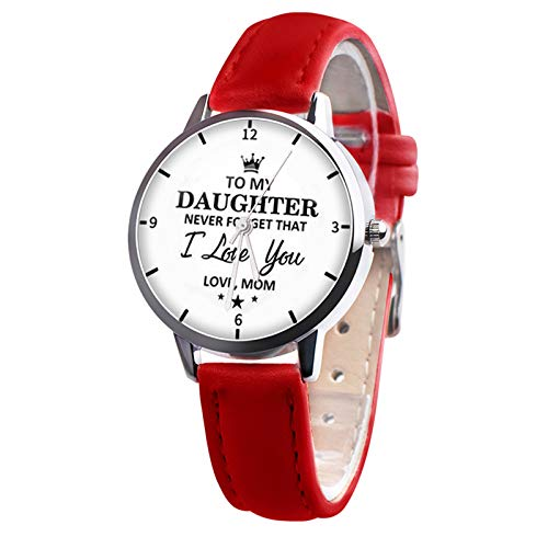 YWZQ Fashion Chic Watch Never forget I Love You To My Daughter Personalized Watch Quartz with Faux Leather Strap Gift from Mom