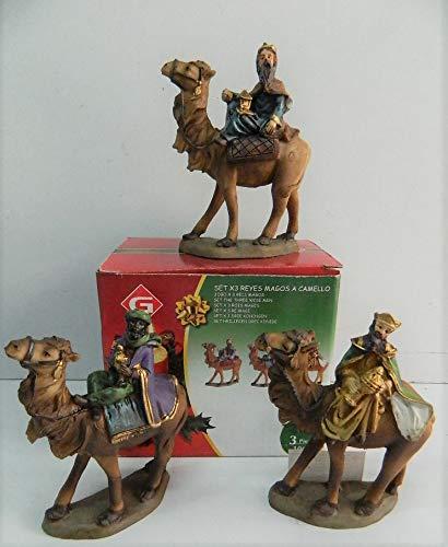 gerilport - Figuras de 3 magos con espalda de camello para Belén de Navidad, 10 cm