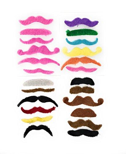 Funiverse 36 Bulk Fake Costume Mustache Assortment (Pink, Brown, Black, Green, Blonde)