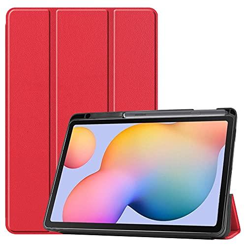 Tab S6 Lite P610 Funda Protectora Plana P615 TPU Soft Shell Strip Funda Protectora de Cuero Protector para aplicar Samsung-Rojo (con Ranura de Pluma)_P610 / P615
