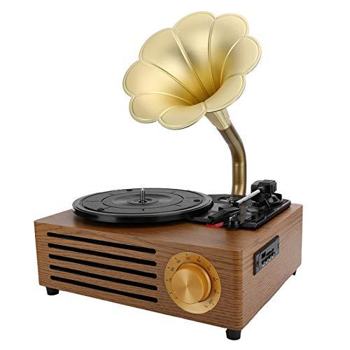 Registratore di dischi in vinile, retro registratore giradischi Bluetooth 5.0, altoparlanti stereo incorporati, scheda di memoria USB per l'intrattenimento e la decorazione della casa