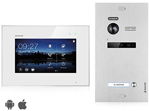 BALTER EVO Video Türsprechanlage ✓ Touchscreen 7 Zoll Monitor ✓ Smartphone App ✓ 2-Draht BUS ✓ Türstation für 1 Familienhaus Türklingel ✓ 150° Weitwinkel-Kamera