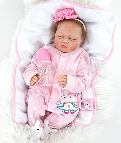 MAIHAO Bebes Reborn Ninas Silicona Muñecas Dorm Ojos Cerrados Toddler Baby Dolls Niño Originales Muñecos bebé Girls 55 Cm