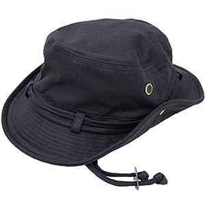 [エクサス]EXAS アドベンチャーハット コットンヘリンボーン ひも付き 大きいサイズ帽子約63~65cm ブラック