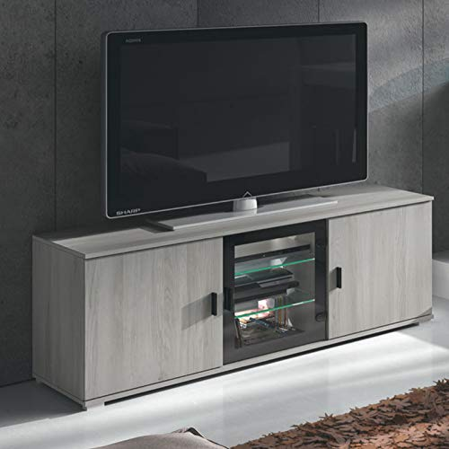 TV-meubel, 145 cm, modern, kleur: grijs, eiken