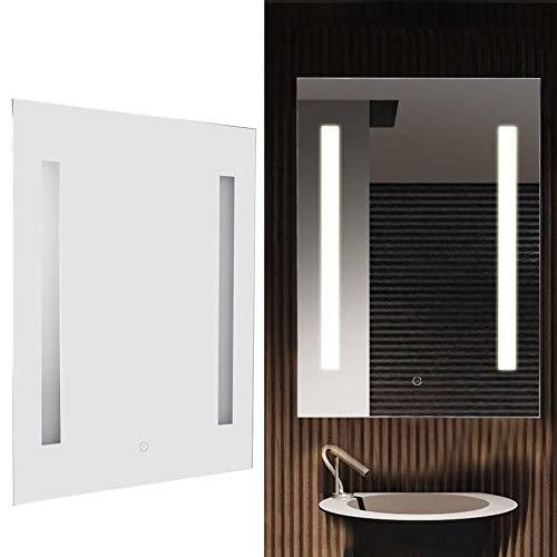 Cocoarm Specchio da Bagno a LED, Specchio da Parete modernocon Illuminazione, Specchio da Bagno antinebbia con Illuminazione a LED Luce aggiuntiva 50 x 70 x 4 cm(Prise UE 220V)