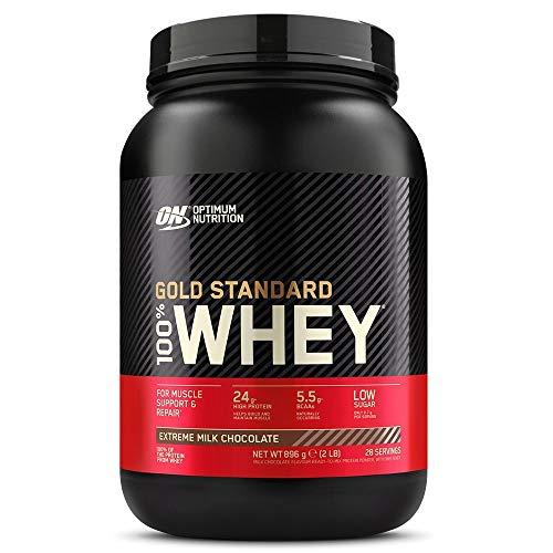 Optimum Nutrition Gold Standard 100% Whey Protéine en Poudre avec Whey Isolate, Proteines Musculation Prise de Masse, Chocolat au Lait, 28 Portions, 0.9kg, l'Emballage Peut Varier