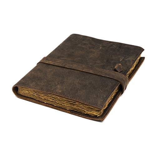 Refillable Vintage Leather Journal - Book of Shadows Journal, Vintage Journal, Writing Journal, Handmade Antique Deckle Edge Paper, Vintage Leather Journal (11.7  x 8.3  - A4, Vintage Brown)